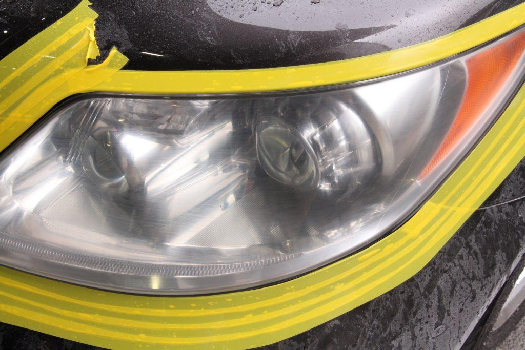 レクサス LS ヘッドライト再生 ドリームコート施工中 AVARTH アヴァルト 岐阜 ドリームコート認定プロショップ