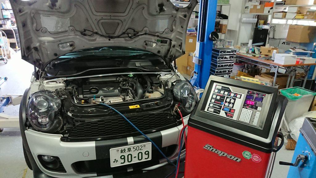 MINI R55 エアコンクリーニング PS134 AVARTH 岐阜 エアコンメンテナンス エアコンガス補充