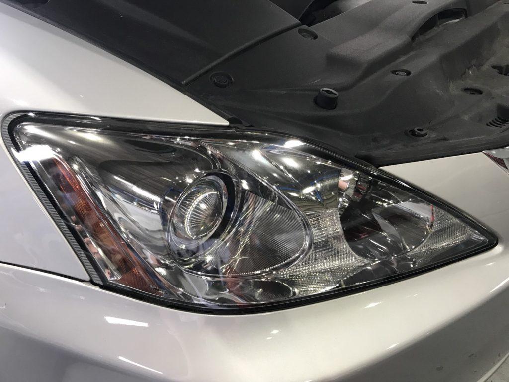 ドリームコート施工後 レクサス is250 ヘッドライト 新品