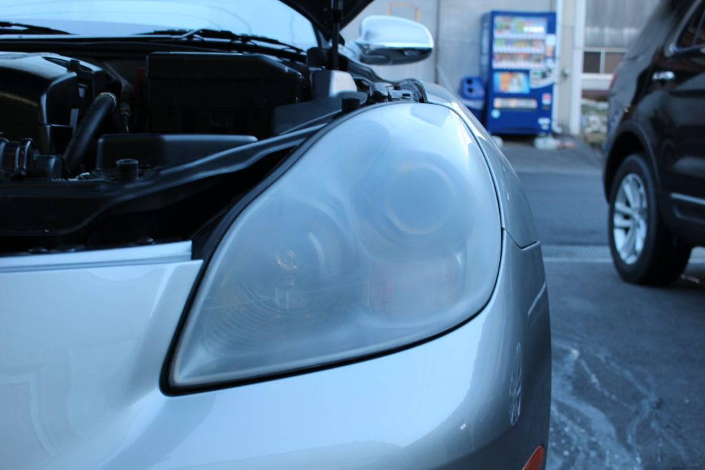 レクサス SC430  ソアラ ヘッドライト黄ばみ クラック ドリームコート AVARTH 岐阜 認定プロショップ 下処理後