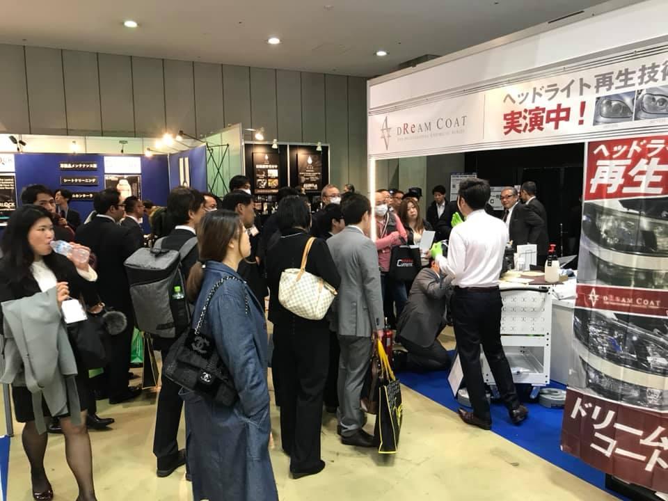東京ビッグサイト AVARTH ブース出展 アフターマーケットショー ヘッドライトコーティング ドリームコート実演中 ヘッドライトスチーマー