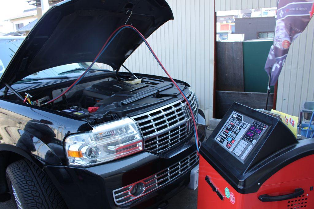 ナビゲーター エアコンクリーニング エアコンガス補充 エアコン効かない アメ車修理 AVARTH アヴァルト アメ車岐阜 R134 リンカーン